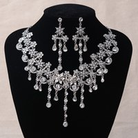 Wholesale Wholesale Evening Jewelry Sets - 2016 New Hot Sell Luxury Crystal Rhinestone Wedding Bridal Necklace Earring Set Also can use as Hair Evening Prom Homecoming Party Jewelry