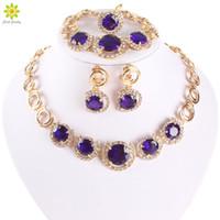 New Design Gold Plated Jewelry Blue Zircon Necklace Bracelet Earrings Ring Jewelry Sets Women Dinner Party Jewelry Set