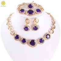 ingrosso orecchini dell'anello del braccialetto blu della collana-Nuovi gioielli placcati in oro Blue Zircone Collana Bracciale Orecchini Anello Set di gioielli da donna Dinner Party Set di gioielli