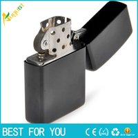 Wholesale New Gas Cigarette - 2017 New Fire Retro Metal Black Frosted Windproof Metal Cigarette Lighter Smoking Fuel Lighters Cigarette Case