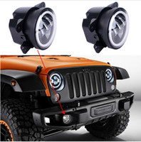 Wholesale Led Halo Fog Light - 2PCS 4Inch Round Led Fog Light Headlight 30W Projector lens With Halo DRL Lamp For Offroad Jeep Wrangler Jk Harley Daymaker