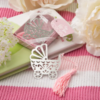 Wholesale Stroller Baby Favors - Wholesale- wedding Favor baby carriage stroller metal Bookmark 20pcs lot baby Shower, party Favors Decoration Birthday Gift free shipping