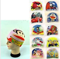 Wholesale Spandex Swimming Cap - printed sPolyester wimming caps Stretch fabric spandex nylon cloth teenagers Swimming Cap for Kids Over 8Years and Teenagers Bathing Cap