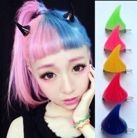Wholesale black heart hair clips - Halloween Devil Horns Hairpin Neon Colors Angle Harajuku Cute Exaggerated Hair Clip Bobby Pins Free shipping