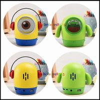 Wholesale Minions Speakers - Christmas Gift Super Cute Cartoon Minions Despicable Me Mini Bluetooth Speaker Portable Wireless Music Player Subwoofer TF Card USB Disk MIC
