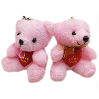 Wholesale Love Teddy Bear Doll - Wholesale 40pcs x 2.8inch(7cm) Plush Teddy Bears With LOVE HEART and scarf Small Doll House Craft Sitting Bear Pink
