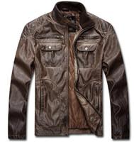Wholesale Leather Bomber Jacket Brown Xl - Autumn Winter Dress Men's Leather Jacket Men Leather Jaqueta Couro Masculino Bomber Biker Leather Jackets Men Skin Jacket Coat