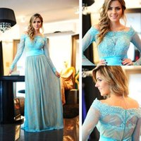Wholesale Cap Sleeved Lavender Evening Gown - Sky Blue Lace Long Sleeved Evening Dresses Nude Lining Off Shoulder Appliques Bodice Arabic Vintage Prom Dresses Party Wear Formal Gowns