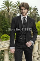 Atacado- 2016 Italian Design Business Suit Black Mens Tailcoat Costume Custom Wedding Tuxedos Groomsmen Groom Suit (Jacket + Pants + Vest + Tie