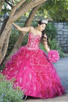 Wholesale Dress Quinceanera Fushia - Fushia Appliqued Quinceanera Dresses Sweetheart Neckline Cascading Ruffles Skirt Masquerad Ball Gowns Organza Beaded Debutante Dress
