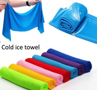 Wholesale Green Blue Bath Towels - Cold Towel coolings Towel Exercise Sweat Summer Sports Ice Cool Towel PVA Hypothermia sportsTowel 8 color Single layer retail