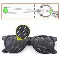 Wholesale Eyeglasses Holes - High quality Black Unisex Vision Care Pin hole Eyeglasses Pinhole Glasses Eye Exercise Eyesight Improve Plastic
