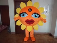 Wholesale Mascots Costumes Flowers - High Quality Sunflower Mascot Cartoon Character Costume Adult Size 100% Real Picture Flower Halloween Christmas Party Costumes Free Shipping