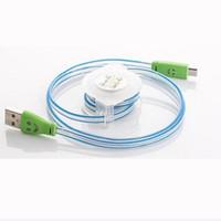 cable micro sonrisa al por mayor-Luz LED Cable Visible Micro USB V8 1M Cables retráctiles de carga de 3FT Cara de sonrisa Datos de sincronización de fideos planos