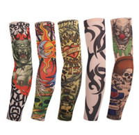 Wholesale temporary body tattoos for men - New Mixed 100%Nylon Elastic Fake Temporary Tattoo Sleeve Designs 48Pcs lot Body Arm Stockings Tattoo for Cool Men Women Free shipping