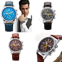 Wholesale Vintage Army Watch - hot sell Vintage Men's Watches Faux Crocodile Leather Quartz Watch Sport Army Watch GIFT free shippment