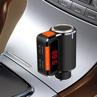 Wholesale car cigarette lighter usb mp3 player online - New Bluetooth Car FM Transmitter Handsfree kit Dual USB Charger Car MP3 Player with Cigarette Lighter LED Display BC09