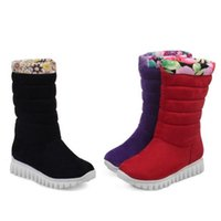 Wholesale Wedge Heel Shoes Size 32 - Women Fashion Plush Snow Boots Ladies Warm Wedge Heel Print Mid Calf Half Boots Women Shoes Size 32-45