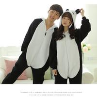 Wholesale Japanese Panda Costume - Pyjamas Women Panda Onesies for Adults Sleep Lounge Pajamas Panda Sleepwear Flannel Animal Pajamas One Piece