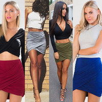 Wholesale Green High Waist Pencil Skirt - 2017 Fashion Women Lady High Waist Short Mini Skirt Sexy Bandage Bodycon Cross Fold Pencil Skirts 4 Colors VD8029