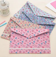Wholesale a4 paper folder - New vintage dots flower lace series A4 documents file bag  File folder   stationery Filing Production Wholesale OF001