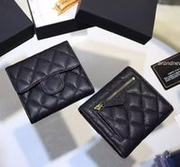 Wholesale Mini Folding Card - Free shipping Classic Short three Folding Card ID Holder women wallet genuine leather famous brand caviar lambskin short wallets 086