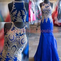 Wholesale Gold Royal Blue Dresses - 2016 Prom Dresses Mermaid Style with High Neck and Gold Details Real Picture Lace Appliques Pearls Royal Blue Pageant Gowns Custom Made