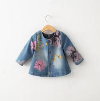 Wholesale 4t Jean Jacket - 2016 New Autumn Demin girls Jacket Jeans Cowboy Jean Coat Flower outwear Spring Floral girl Coat 90-130 cm