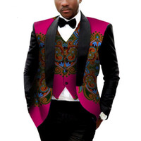 Wholesale African Suits - Brand Clothing African Clothes Mens Printed Blazer Men Jacket + Vest Fashion Slim Suits Dashiki Men Large Size 6XL Blazer WYN176