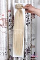 sarışın tam kafa saç uzantıları toptan satış-Yeni Varış Ipeksi Düz Tam Başkanı Brezilyalı Remy İnsan Saç Uzantıları Üzerinde Klip # 60 Platin Sarışın 7 adet / takım 70g 18