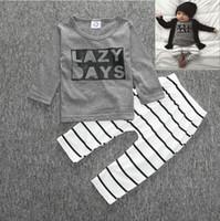 Wholesale Harem Zebra - 2016 Cute Cartoon Lazy Days Baby Girls Boys Outfits Set Summer Sets Boy Cotton Tops & Harem Pants 2pcs Suits Kids Stripe Ins Shirts