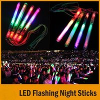 Wholesale led flashing toys - 4 Color LED Flashing Glow Wand Light Sticks ,LED Flashing light up wand Birthday Christmas Party festival Camp novelty toys