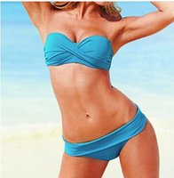 Wholesale Wholesale Designer Beachwear - Sexy Bandage Neon Color bikini Swimwear swimsuit Set Push Up Bathing Suit New Women bikinis set designer Beachwear,S,M,L