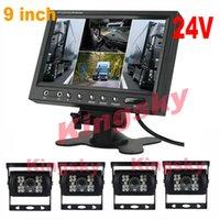 ingrosso camion retromarcia camion-9 pollici LCD 4CH quadrato del video a Spalato Car Monitor + 4 x 18 IR LED inverso vista Kit 24V posteriore per BUS Truck