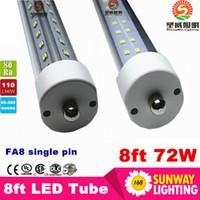 Wholesale Dlc Led Tube - Single pin led tube fa8 tube 72W V-Shaped and Dural row Double Sides smd 2835 Led Light Tubes 8ft led AC85-265V UL DLC