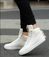 Wholesale Serpentine Shoes - 2018 New high help shoes men's shoes metal decorate tide lovers serpentine han edition shoes, casual shoes sandals short boots