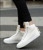 han edition erkek rahat ayakkabılar toptan satış-2018 Yeni yüksek yardım ayakkabı erkek ayakkabıları metal süslemeleri gelgit severler serpantin han baskı ayakkabı, rahat ayakkabılar sandalet ...