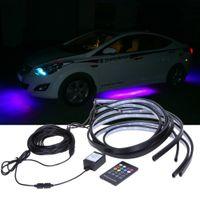 Wholesale Led Neon Kits - Hot Sell 90 120cm Car RGB LED Strip 5050 SMD DC12V 6000K RGB LED Strip Under Car Tube Underglow Underbody System Neon Light Kit