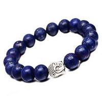 Wholesale Jade Beads Mm - Fashion natural lapis lazuli 9-10 mm beads Tibet silver Buddha lucky man bracelet   Free Shipping