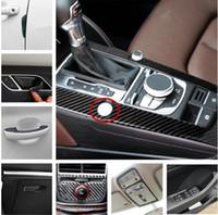 Wholesale Vinyl Door Frames - Interior Carbon Fiber Door Handle Decal Strips For Audi A3 8V 2014-16 Gear Shift Navigation Frame Decorative Cover Trim