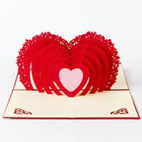 всплывающая открытка день рождения бесплатно оптовых-Бесплатная доставка ручной работы всплывающие поздравительные открытки открытки на день рождения украшения Творческий стереоскопический 3D любовь Валентина Поздравительная открытка