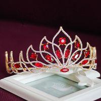 Wholesale Vintage Rhinestone Tiara Heart - Vintage Wedding Bridal Accessories Red Crystal Rhinestone Princess Crown Tiara Headband Hairband Bridesmaid Flower Girl Jewelry Headpiece