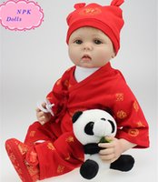 Wholesale Chinese Real Silicone Doll - Lovely Handmade 22 Inch NPK Real Silicone Doll Reborn Wearing Chinese Traditional Red Dress Real Doll Baby For Gifts Brinquedos