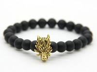 2016 New Arrival Men Jewelry Wholesale 8mm Round Matte Agate Stone Beads com Antique Silver e Real Gold Plated Wolf Bracelets