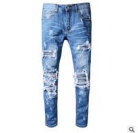 Wholesale Hot Slim Patch - 2017 hot sale Men's Retro Patch Pants Youth Slim Pants Slim Trousers Men's Car Pants Casual jeans