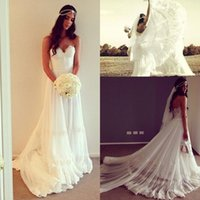 Wholesale Charm Flowing Dress - Charming white flow chiffon A line wedding dresses custom made sweetheart backless lace appliques fall garden bridal gowns BO6892