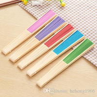 Hand Folding Fan DIY Paper Hollow Out Bamboo Handle 7 Inch Para Crianças Pintura Dance Show Props Multi Color 1 5za A R