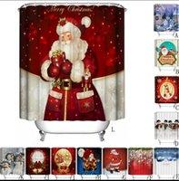 Wholesale Modern Curtains Designs - Christmas Shower Curtain polyester Waterproof Bathroom Santa Digital Printing Shower Curtains Decor for Home 30 design KKA2393