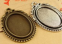 Wholesale Base Metal Cabochon Wholesale - A3772 27*40MM Fit 25*18MM Antique Bronze oval metal stamping blanks, tibetan silver bezel pendant base tray, cameo cabochon setting