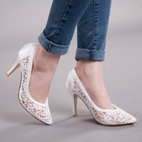 Wholesale Large Size Sexy High Heels - Summer New Single Shoes Pointed Sexy High-heeled Shoes Lace Hollow Out Sandals of Large Size